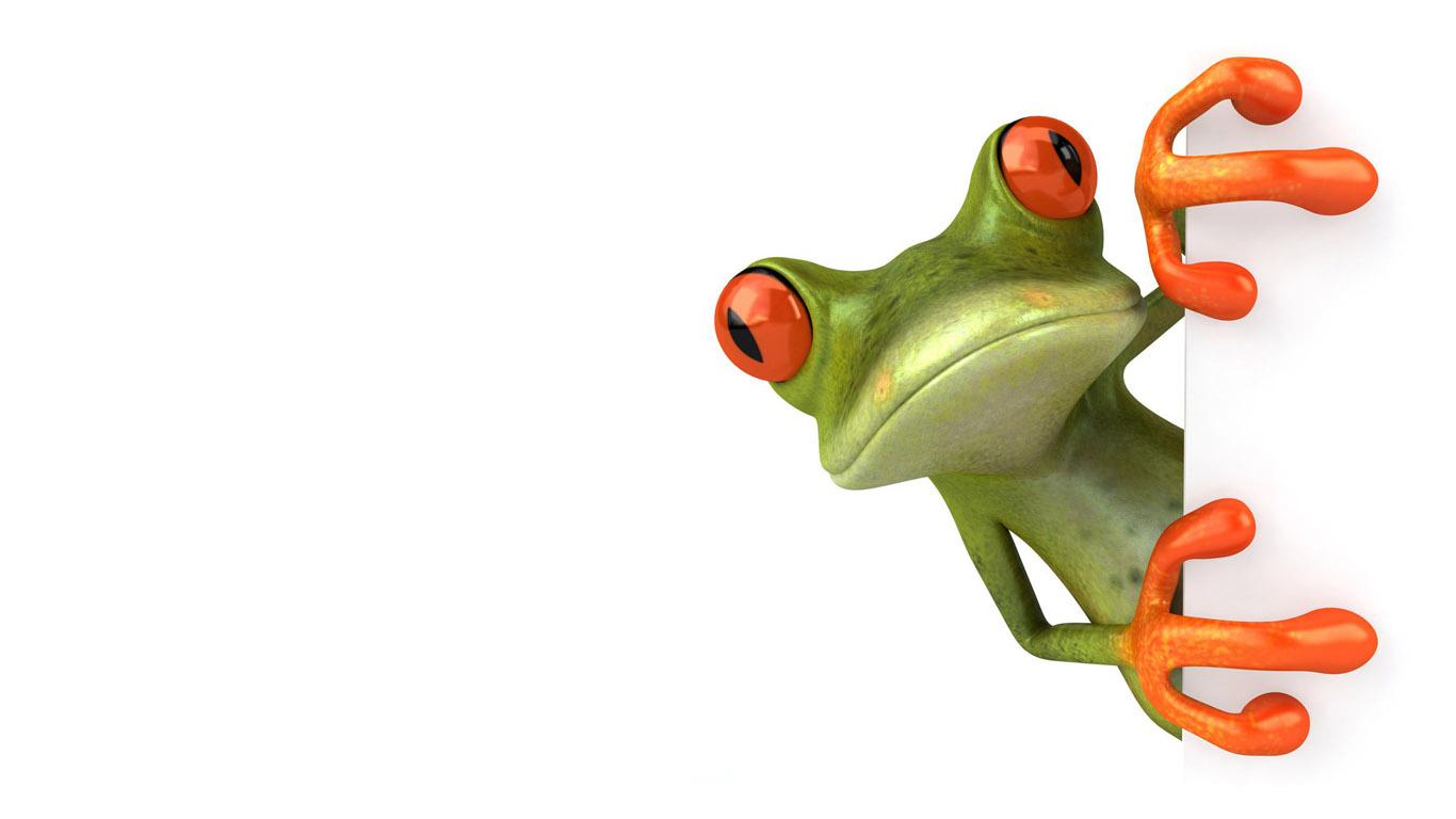 3D лягушка - обои 1366х768 для рабочего стола