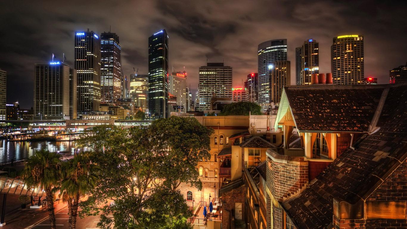 Обои ночные огни, ночной город, Пейзаж. Города foto 10