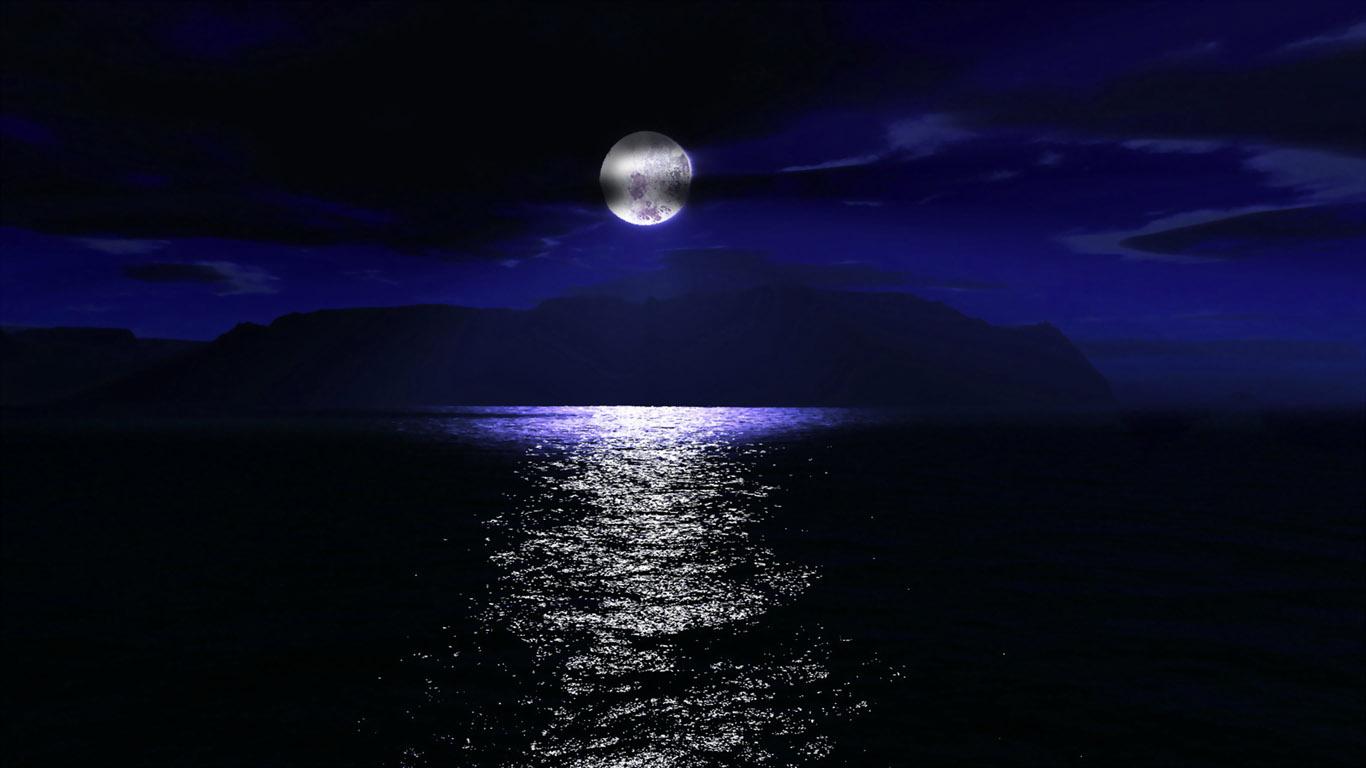 1366x768 red moon ocean - photo #24